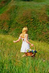 Sexy girl walk away with basket #2