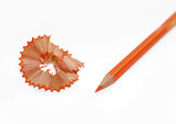 Oange pencil and shavings on white background poster