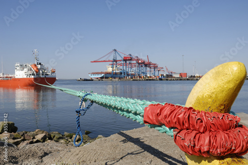 container port scenery with ships