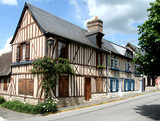 Colourful Timber Framed Normandy  Village Houses poster