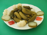 Appetizer. Preserves. Plate of mixed pickles/pickle poster