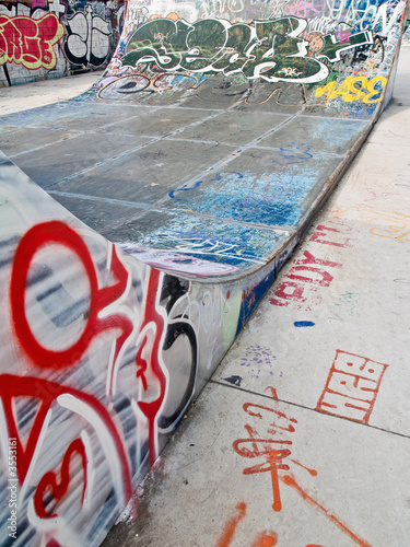 Close up of a ramp at a skate park