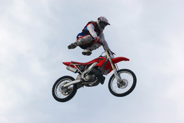 motorcyclist in air