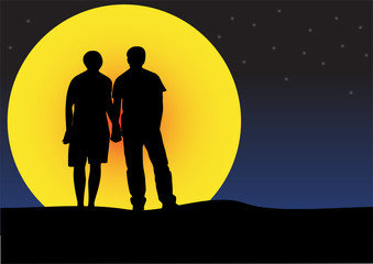 illustration of a couple sunset silhouette