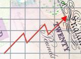 Profit graph on twenty pound note. poster