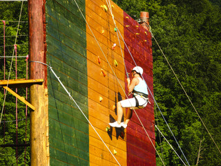 Wooden wall for climbing