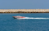 speedy rapid little boat passing by poster