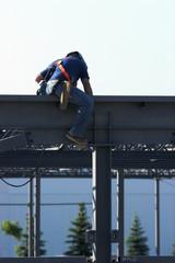 Construction worker welding on an I-beam