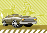 Classic muscle car with mustang  poster