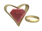 Ruby in gold heart and a ring. 3d mage. poster