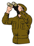 Military man looking with binoculars poster