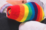 Clean and colorful striped knitted toe socks. poster