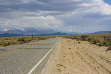 Straight Highway in Nevada / USA