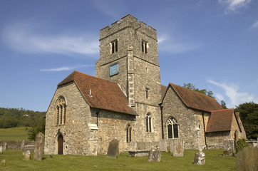 A rural church with blue sky in Kent,England