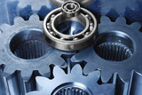 gear machinery concept in blue and silver poster