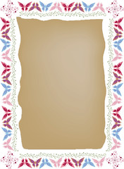 Butterfly pattern border on vector background