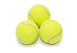 Three tennis balls isolated  on the white