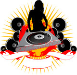 Girl Silhouette, Turntable and Sound poster