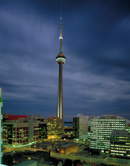 Aerial view of CN Tower at night