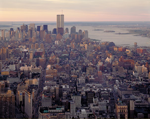 Aerial view of Manhattan and World Center at dawn from Empire St