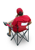 Staff member in red t-shirt, cap. Isolated, clipping path. poster