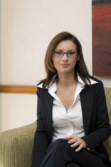 Attractive brunette business woman wearing business suit