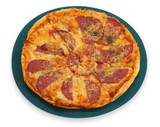 close-up of whole pepperoni pizza on plate poster