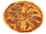 close-up of whole pepperoni pizza on white background poster
