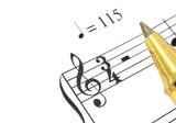 close-up of music note and ballpoint pen tip against white  poster