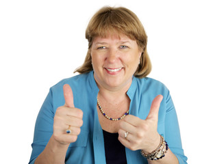 woman giving two thumbs up