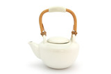White glazed ceramic teapot with bamboo handle.  poster