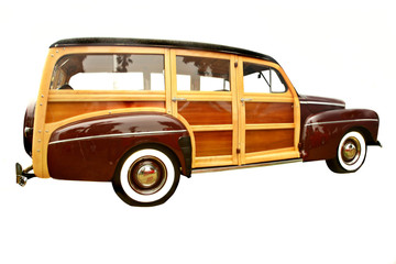 40's era woody station wagon, popular with collectors