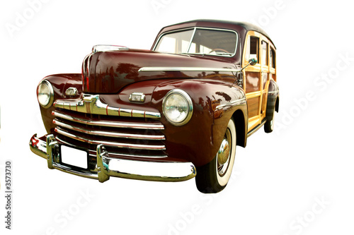 poster of beautifully restored vintage woody station wagon, maroon