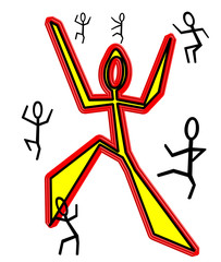 brightly colored stick figures