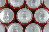 Top view of soda drink cans poster
