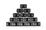 Nine volt batteries forming a pyramid, on white background. poster