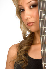 Portrait of Hispanic blonde Girl with guitar
