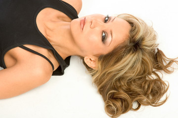 Blonde Latina Girl laying on the floor