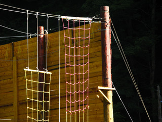 Wooden wall for climbing and adventure sport fans