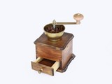 Ancient coffee grinder on white background poster