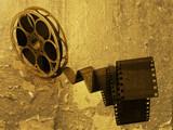 Film strip on grunge textured background poster