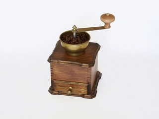 Ancient coffee grinder, isolated