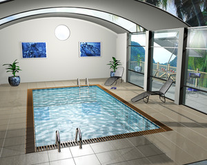 3D render of an interior of a pool house