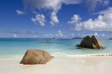 Anse Cocos - popular beach  on La Digue,   Seychelles poster