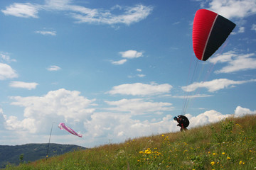 Single glider starting from grass hill