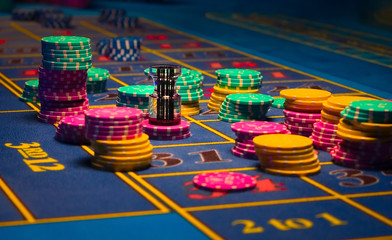 Close up view of Roulette Gambling chips on the table