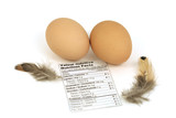 Macro of two eggs with nutrition facts label and feathers poster