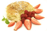 Almond croissant with fresh red berries poster