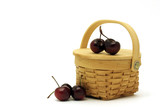 Basket full of cherries ready for picnic poster