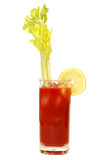 Bloody Mary with celery stalk and lemon. poster